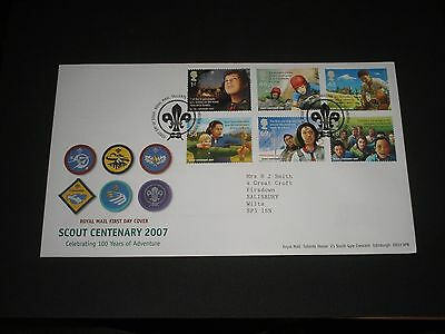 """2007 GB Stamps """" SCOUTS CENTENARY """" First Day Cover FDC - TALLENTS HOUSE Cancel"""