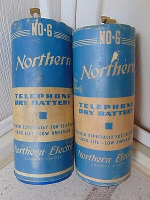 (2) Vintage, Northern Electric Canada Telephone Phone Dry Cell Batteries Battery