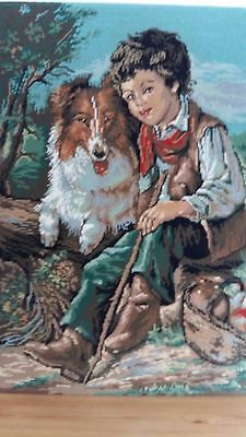"""Handworked completed French tapestry """"BOY AND DOG"""" 50cm x 67cm (app19""""x 26"""")"""