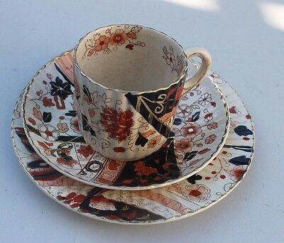 antique china trio,, china star company? red pink & blue butterfly & flowers