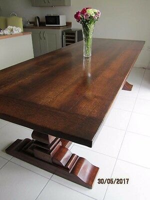 9 ft long solid oak refectory / farmhouse style dining table.