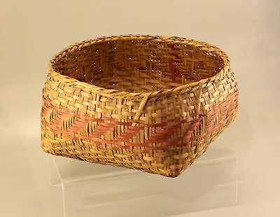 Antique Primitive Choctaw Or Chitimacha Polychrome Basket