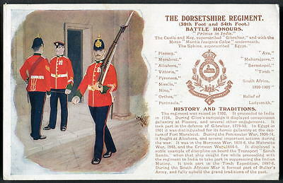 THE DORSETSHIRE REGIMENT. History & Traditions series. Postally used card 1909