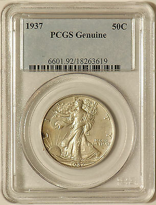 1937-P-50C-Walking-Liberty-Half-Dollar-Pcgs-Genuine-Cleaning-Unc