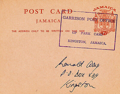 Postcard from Jamaica with a Garrison Post Office/Up Park Camp TRD undated,