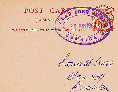 Postcard from Jamaica with a Pear Tree Grove TRD 1968
