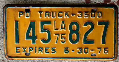 1975 Green on Yellow Louisiana Privately Owned [PO] 3500 lb. Truck License Plate