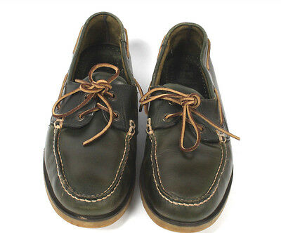 Mens Marks & Spencer Green Leather Deck/Boat Loafers size 11