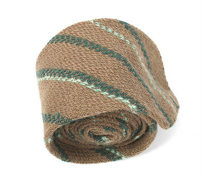 Vintage Retro Pure New Wool Tie Brown & Green Striped
