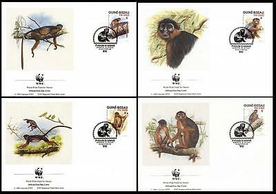 Guinea-Bissau WWF Western Red Colobus 4 official FDCs