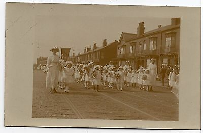 Parade Women And Girls In White Dresses Temperance / Suffragette Photo Postcard
