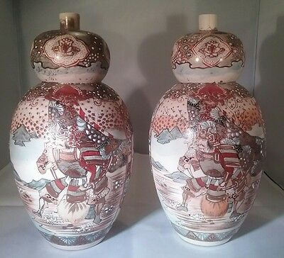 Antique pair of Japanese Satsuma double Gourd vases