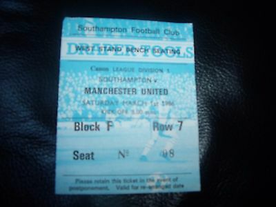 southampton v man utd 1/3/1986 ticket stub