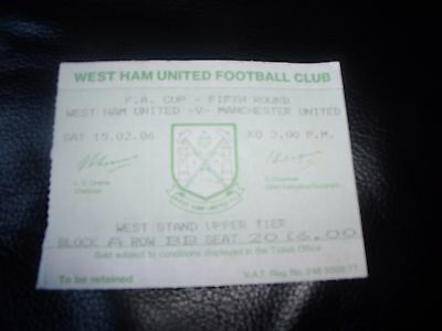west ham v man utd 15/2/1986 ticket stub
