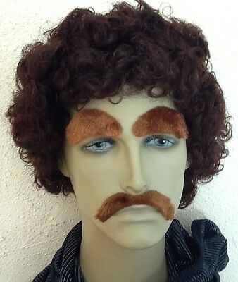 Brown Curly Mens Fancy Dress Wig & Droop Moustache & Eyebrows(Short Cut)