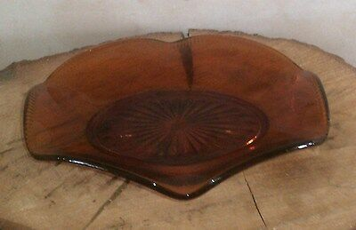 A Beautiful 1970s Amber Moulded Glass Fruit Bowl