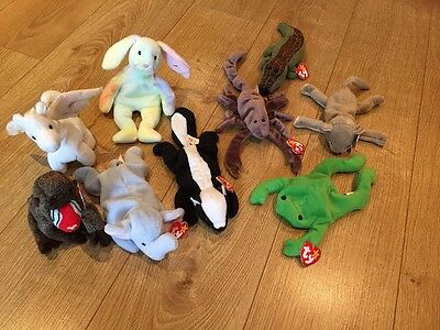 Nine Original Ty Beanie Babies Variety Job lot Bundle Retired And Rare