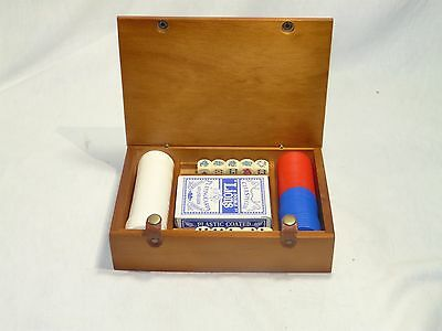 Vintage Poker Chip Set in Wooden Box with Cards Chips Dice