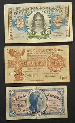 Spain 3 different banknotes 1937