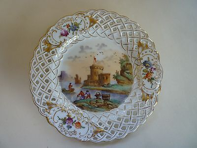 Antique Dresden Porcelain Small Pierced Plate, Hand Painted Fishing Scene
