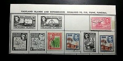 Assorted Fiji stamps 1938-1950 --USED/Cancelled/Hinged --  18 Total (See Pics)