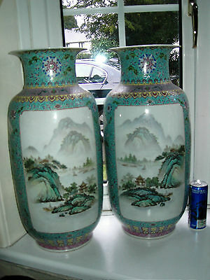 Very Large Pair Chinese Republic Famille Rose porcelain vases 51cm early 20thC