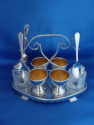 Vintage Chrome Plated Breakfast Cruet Set England