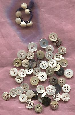 Antique Small Pearl Buttons Suitable For Dolls Or Crafts