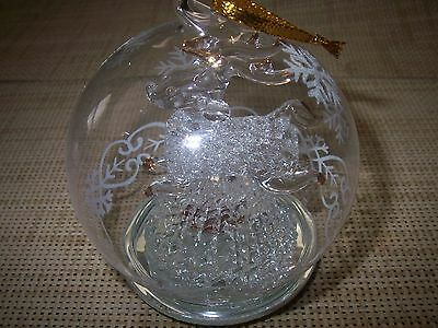 "Hand Blown Spun Glass Deer Figure Inside A Clear 3 1/2"" Lighted Ball Ornament"