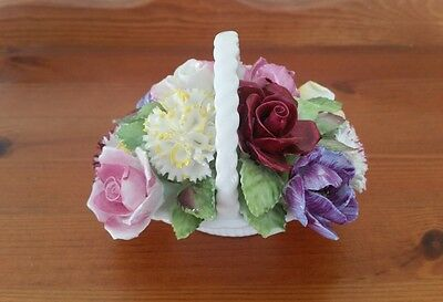 "Royal Adderley Floral Bone China Flower Basket Decorative Ornament 3.5"" High"
