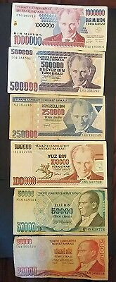 Turkey 6 different banknotes 20,000 to 1 million