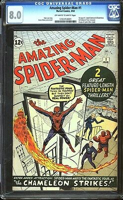 Amazing Spider-man 1 CGC 8.0 OW/W Silver Age Key Marvel Comic IGKC L@@K