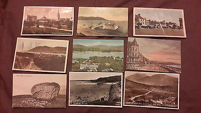 9 x Old postcards of Ireland - Warrenpoint, Helen's Bay, Mourne Mountains, Rostr