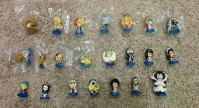 PLEX Ani-chara ONE PIECE Lot of 26 Mini Big Head - Zoro, Law, Robin; Dressrosa