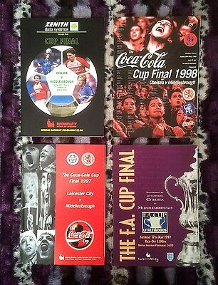 *RARE* 4 x 1990s Middlesbrough MFC Cup Final Programmes Vtg Retro Shirts Zenith