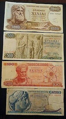 Greece 4 banknotes 1964 to 1970