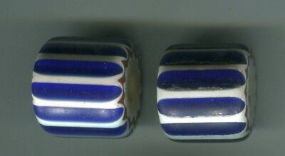 African Trade beads Vintage Venetian glass one 4 layer blue chevron #1