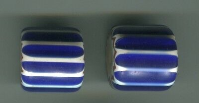 African Trade beads Vintage Venetian glass one 4 layer blue chevron #2