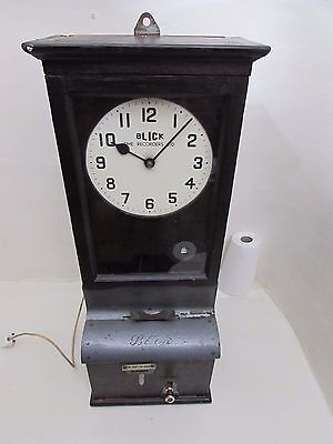 Antique Oak Cased Electric Clock Blick Factory Mechanical Clocking In Machine