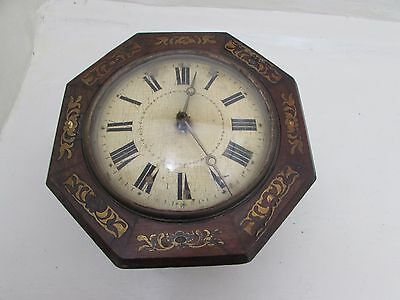 Antique Wag On The Wall Clock Brass & Mother Of Pearl Inlay For Repair
