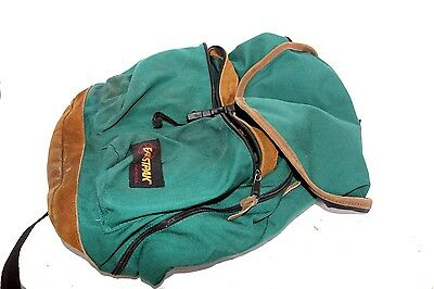 Eastpak Green Backpack With Dual Front Zipper Pouches