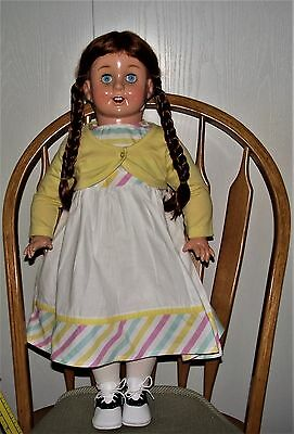 "HUGE 27"" Horsman Doll, Red Braids, Cute Spring Outfit, shoes /tights-LQQK"