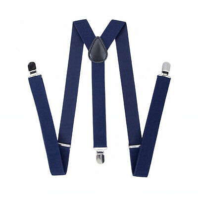 35mm Mens Wide Braces in Navy Suspenders Clip on Elastic Trousers Jeans