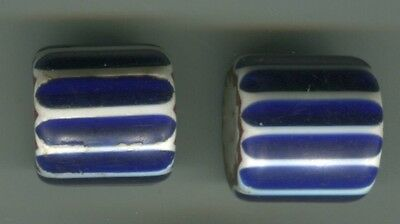 African Trade beads Vintage Venetian glass two 4 layer blue chevron #3