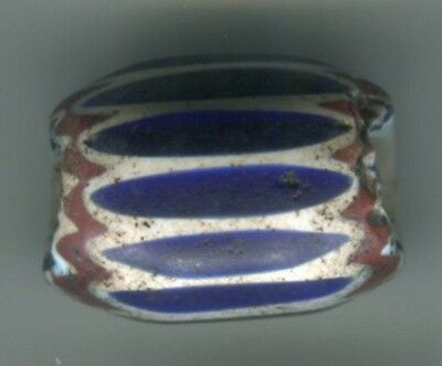 African Trade beads Vintage Venetian glass one 6 layer blue chevron