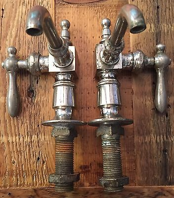 Vtg Antique Nickel Brass Hot Cold Sink Faucet Pair Plumbing Haydenville Co MA US
