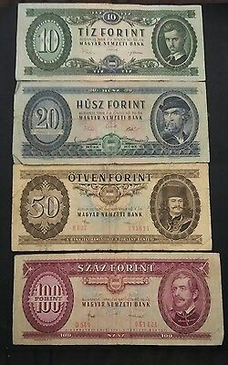 Hungary 4 banknotes 1969 to 1986