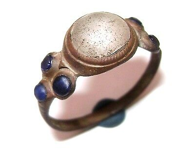 Ancient  BRONZE RING with stones  (gem, glass )