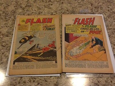 Flash # 125 and # 163 Silver Age Key Issue Collectors Copy No Cover