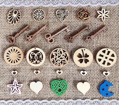 25 Lovely Mixed Wooden Craft Embellishments. Keys Hearts Flowers Leaves etc